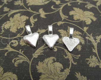 100 Heart Bails - 16x10mm - Shiny Silver Color - Small Glue On Bails - Scrabble Glass Pendants Heart Spider Bail - 5/8 x 3/8 inch 10x16 mm
