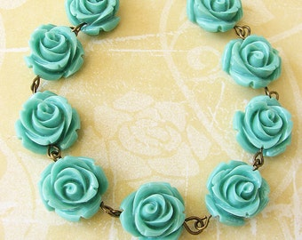 Resin Flower Necklace Turquoise Jewelry Beaded Necklace Bridesmaid Jewelry Rose Necklace