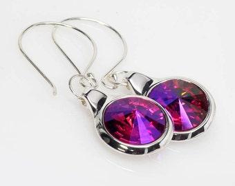 Fuschia Earrings, Swarovski Crystal Rivoli Earrings, Pink, Dangle, Sterling Silver