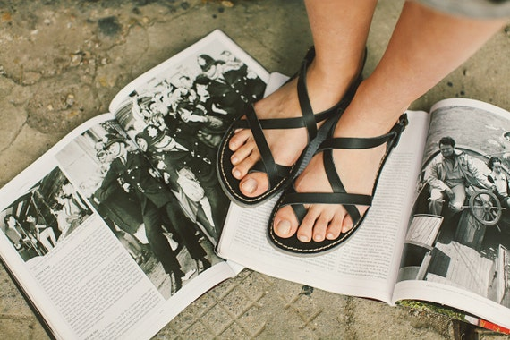 Black Shoes Strappy Leather Leather Flats Greek Black Gladiator Gladiators Gladiator Sandals Summer Sandals Sandals Sandals Sandals pPp7r