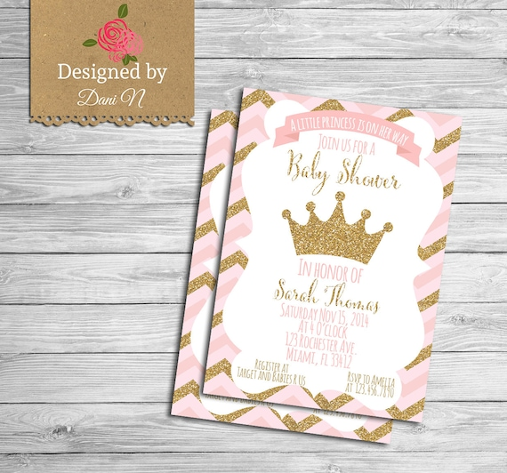 Baby shower invitation princess baby shower pink and gold like this item filmwisefo Choice Image