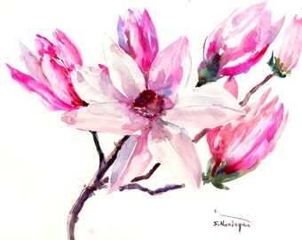 Magnolia abstract Pink white, floral painting, original watercolor painting, white pink magnolia flowers. brush painting Asian, magnolias