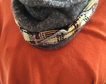Snood Orange and grey Polyester and Wax