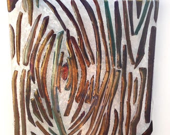 """Wall art, """"Swirling Tree"""", fused glass Panel, iridescent glass, glass art, handmade, one of a kind"""