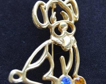 On sale Cute Vintage Gold tone, Rhinestone Puppy Dog Brooch, Pin, Animal (V16)
