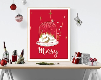 Christmas wall art instant download retro holiday print red christmas print christmas artwork christmas decor christmas printable christmas wall art solutioingenieria Images