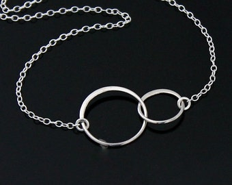 Double Circle Necklace - Sterling Silver, Two CIRCLE Link Necklace, Interlocking Circle Necklace, Eternity Circle Necklace.