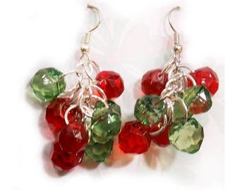Christmas Red Green earrings -Holiday Dangle Earrings,  Christmas party Earrings,      # J 8