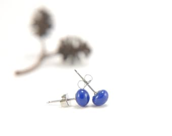 Deep cobalt blue small ball stud earrings, fused glass with surgical steel, skin-friendly, minimalist bridesmaid gift, small gift for her