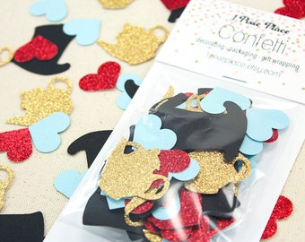 Mad Hatters Tea Party Glitter Confetti - 70 pieces - Alice in Wonderland, Table confetti, Party Decorations