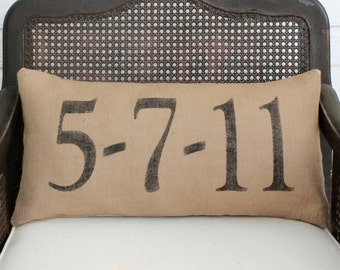 Remember the Day - Burlap Pillow - Personalize with a  special date in your life - Save the Date Pillow - Anniversary Pillow - Wedding Date