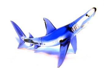 Sea Blue Glass Shark Sculpture  Handmade Beach Decor