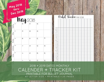 2018 + 2019 Monthly Printable Calendar + Habit Tracker Kit for Bullet Journal, Moleskine + Leuchttrum