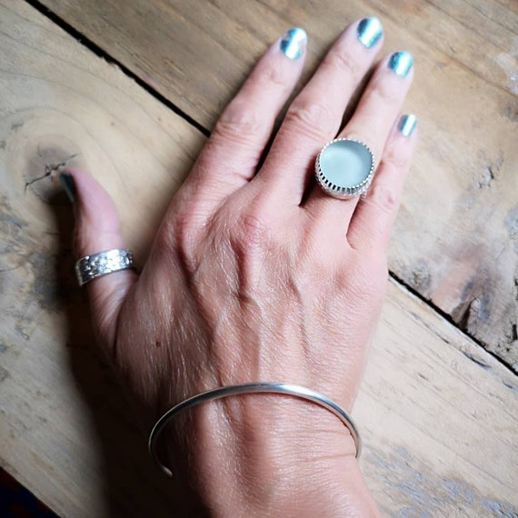Sterling silver Seaham seaglass ring, size N (UK) 6 1/2 (US) 54 (FR)
