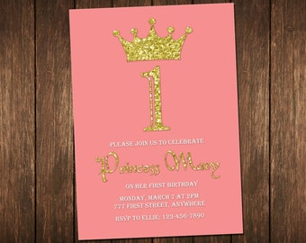 Princess Invitation, Princess Birthday Invitation, Girl Birthday Invitation, Printable Princess Invitation, 1st Birthday Invitation