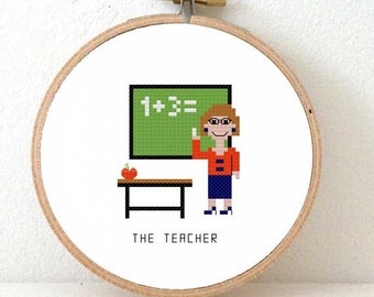 DIY Back to School gift for a teacher or school.  Pixel people pattern. Language teacher gift. Christmas gift for children teacher.