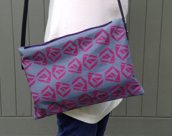 Handbag, Shoulder bag, cross body bag, day bag, screen printed bag, grey bag, pink print, geometric design, flower pattern, gift