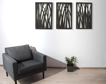 """Wall decoration """"Nature"""" - 3 x (24 """" x 15 """") big, wooden, on the wall, spatial, large,"""