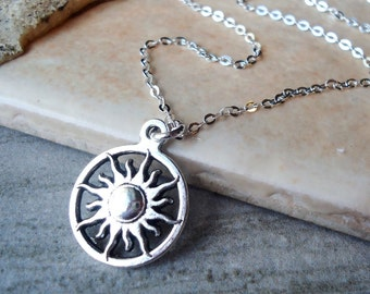 Tiny Sun pendant Necklace.Sterling Silver Chain.Small Necklace.Delicate.Dainty.Bridal.Sun Charm.Gift.Metal.Birthday.Holiday. Handmade.