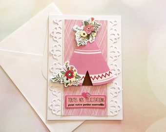 """Congratulations on your little wonder"" - baby girl congratulations card Image 3D tipi"