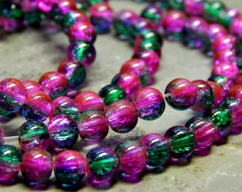 6mm Fuschia & Green Crackle Glass Beads, 1 Full Strand 31.5 Inches 140 beads (INDOC2775)