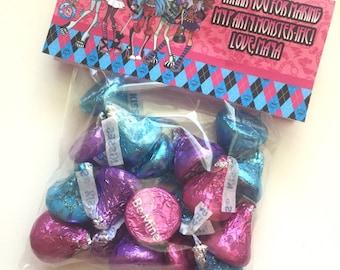 Monster High Birthday Party Favor Cellophane Bag Topper Label