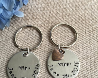 Mr. & Mrs. Wedding Date Keychains