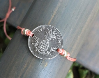 Bahamas Pineapple Coin Adjustable Cording Bracelet / Reversible / One size fits all - Qty 1