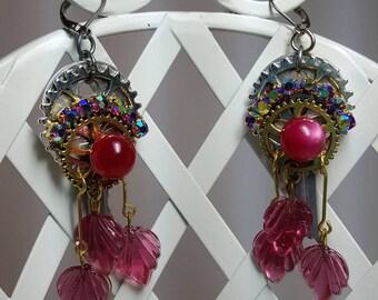 Re-purposed, upcycled vintage style rhinestone earrings