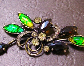 Vintage JOAN RIVERS Signed Large Green Dragon's Breath Cabochons & Topaz Rhinestones Antique Brass Tone Spray Brooch Pin Costume Jewelry New