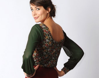 Green floral jersey top, Long sleeved jersey top, Green and red tshirt, sheer sleeved shirt, Green mesh sleeves, Women tshirt, top, MALAM
