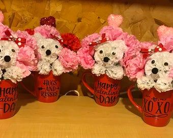 Valentine puppy dog flower arrangement