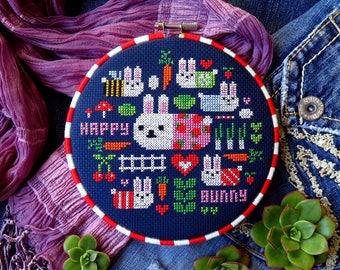Kawaii Cross Stitch Pattern, Modern Cross Stitch, Easter Cross Stitch, Bunny Cross Stitch, Rabbit Cross Stitch, Easter Bunny, Bunnies PDF