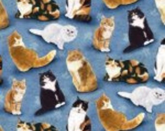 FELINE FINE-491 Cats on Blue