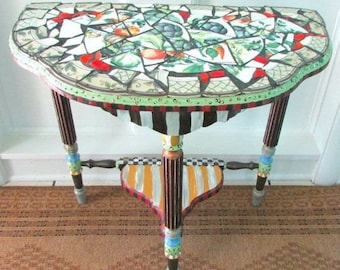 Mackenzie Childs Inspired Table, Vintage wood table, Mosaic Whimsical Table, Entryway Table, End Table, Bedside Table
