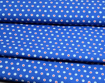 50cm of polka dots - bubbles on blue background - 100% cotton printed fabric