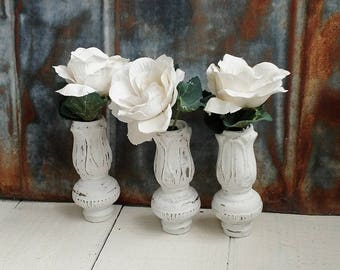 3 Vintage Metal Bases, Painted, Salvaged, Lamp Parts, Vase