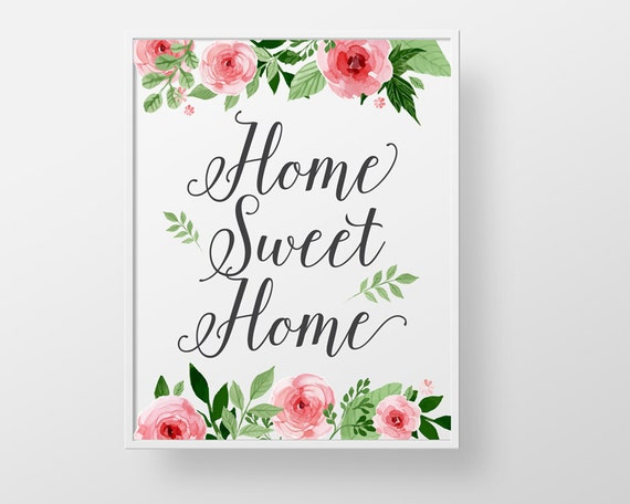 Home Sweet Home Print Wall Decor Art Roses Modern Floral