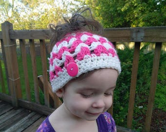 Messy Bun Crochet Beanie Hat - Adult and Toddler Sizes - Solid or Multi Two Color