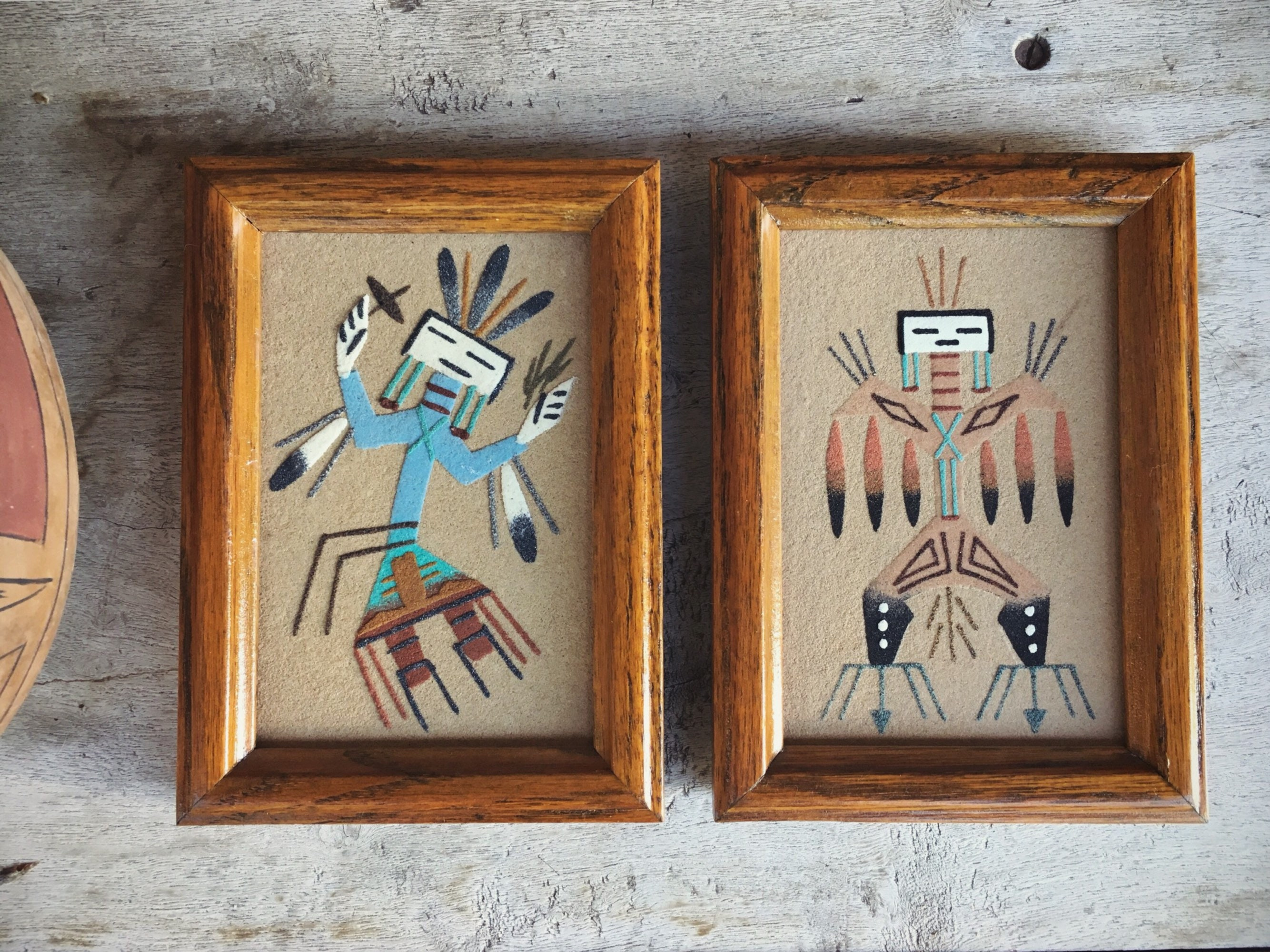 Two Small Framed Navajo Sand Paintings, Southwestern Wall Decor ...
