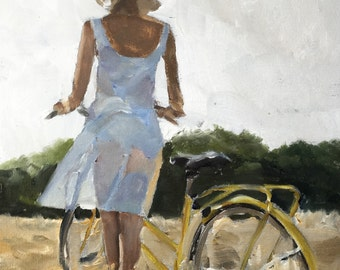 Woman Painting Woman Art Woman PRINT Cycling Art Girl in White Dress with Bicycle - Art Print - from original painting by J Coates
