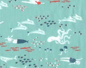 Heather Ross - Munki Munki Fabric - Calypso Mermaids on Poplin - OOP Out Of Print
