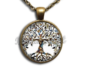 Tree of Life Dome Pendant or with Chain Link Necklace NT137