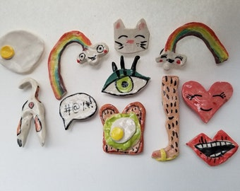 Porcelain hand-painted Slab Magnets, Clay Doodles