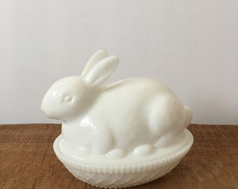 Imperial Glass Bunny Rabbit On Basket White Milkglass Spring Decor Mid Century Candy Dish