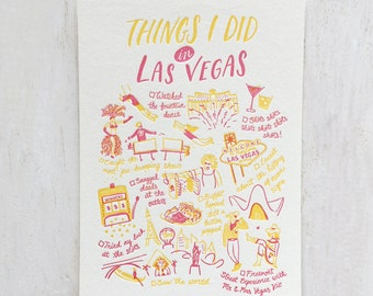 Things I Did in Las Vegas Letterpress Postcard