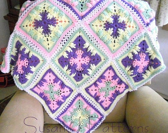 Crochet Pattern - Trailing Leaves Afghan in Squares