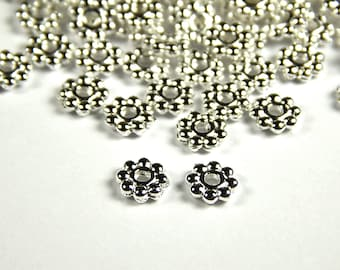 100 Pcs - 5mm Silver Spacer Beads - Daisy Spacer - Metal Spacer Beads - Jewelry Supplies
