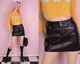 90s Black Faux Leather Low Rise Mini Skirt/ Small/ 1990s