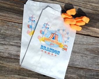 Birthday Party Favor Bags Circus Tent Carnival | Personalized Bags | Goodie Bags | Candy Bags | Carnival Birthday | Circus Party Favor